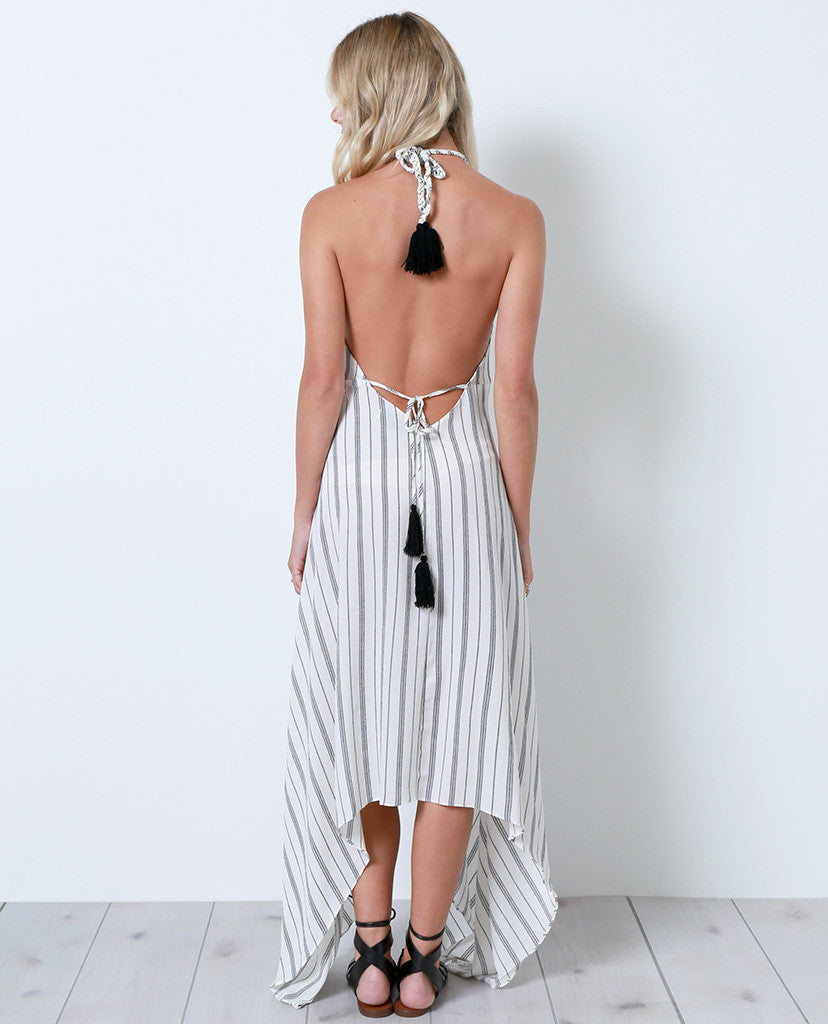 Once Again Stripe Maxi Dress - White - Piin | ShopPiin.com
