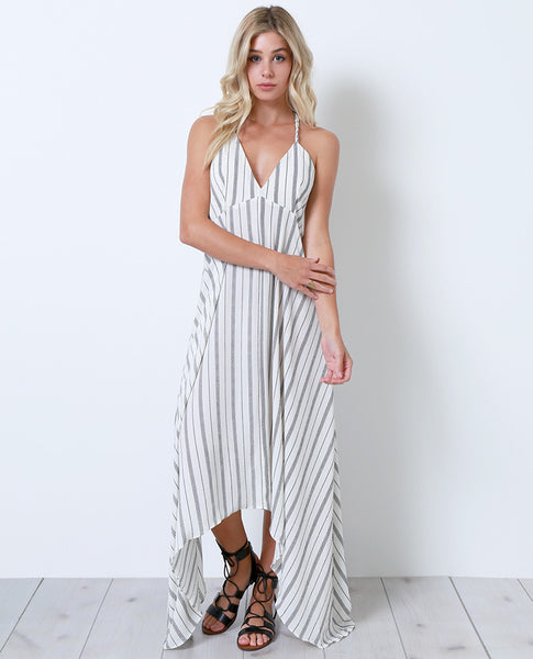 Once Again Stripe Maxi Dress - White - Piin | www.ShopPiin.com