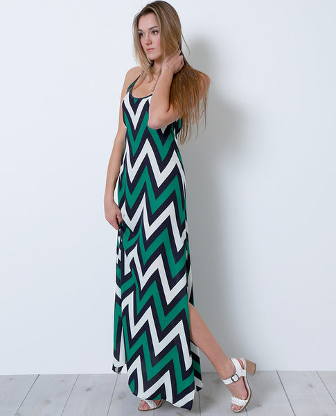 South Hampton Maxi Dress - Multi Chevron - Piin | www.ShopPiin.com