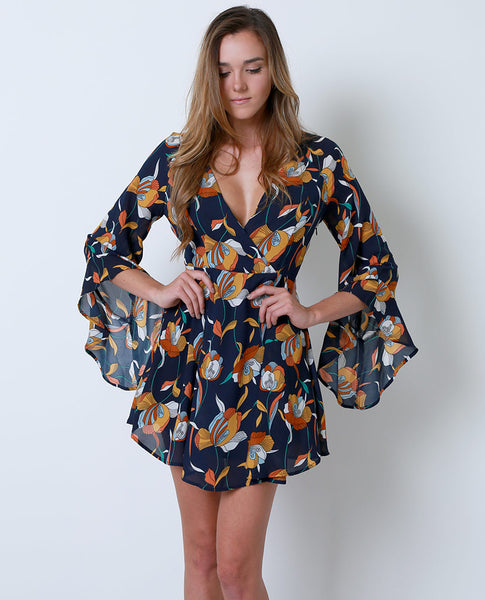 Dream Flowers Dress - Navy Floral Print - Piin | ShopPiin.com