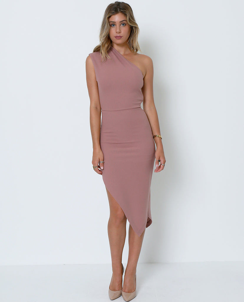 Best Ever One-Shoulder Dress - Nude - Piin | ShopPiin.com