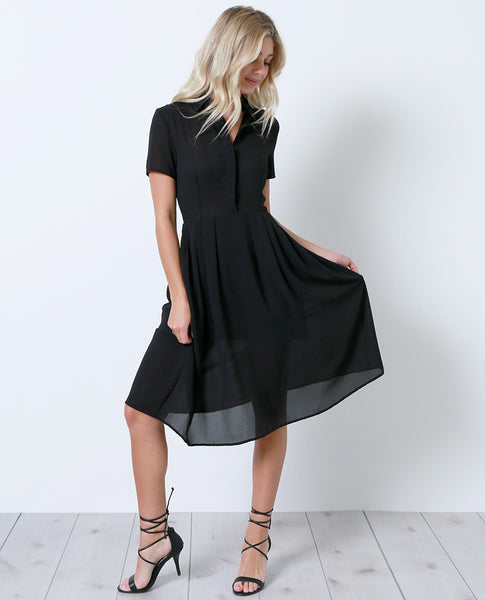 Look Back Shirt Dress - Black - Piin | ShopPiin.com