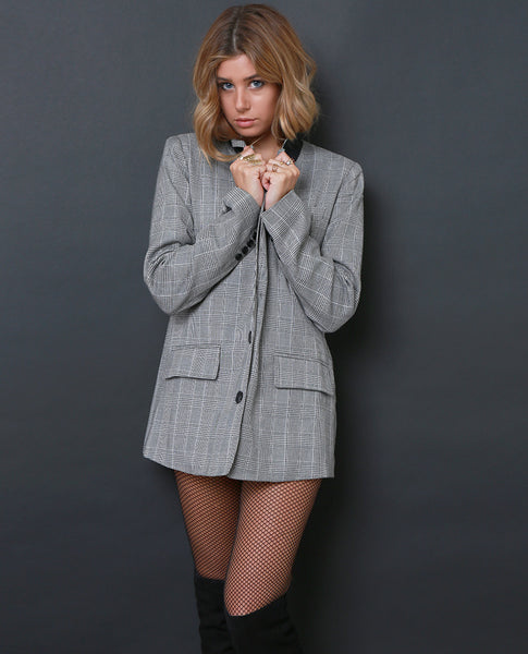 A'Hall Boxy Blazer - Plaid Black/White - Piin | ShopPiin.com
