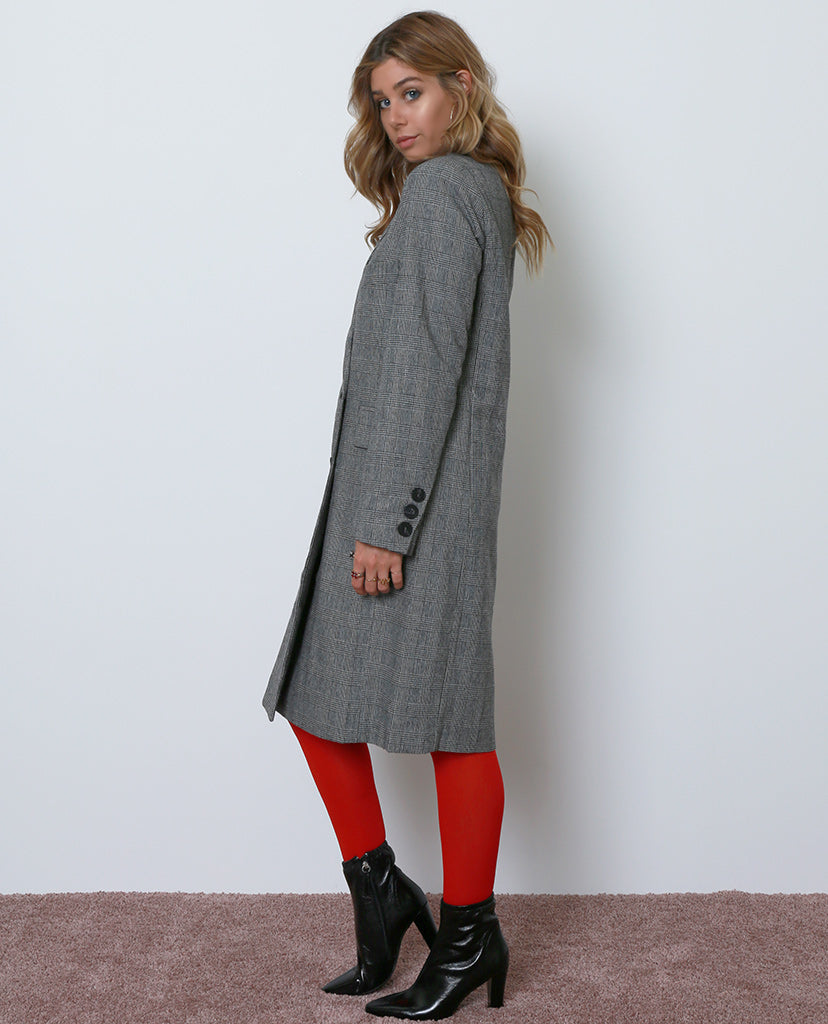 Introducing Plaid Long Coat - Black/White - Piin | ShopPiin.com