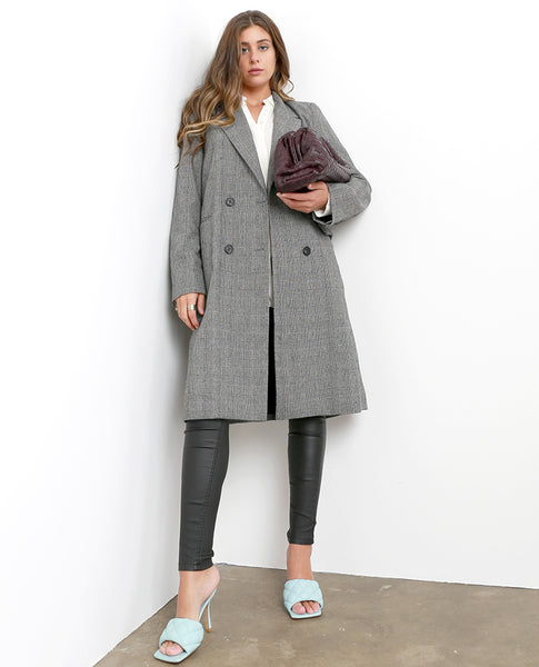 Introducing Plaid Long Coat - Black/White