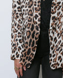 Femme Leopard Satin Blazer - Black/Brown - Piin | ShopPiin.com