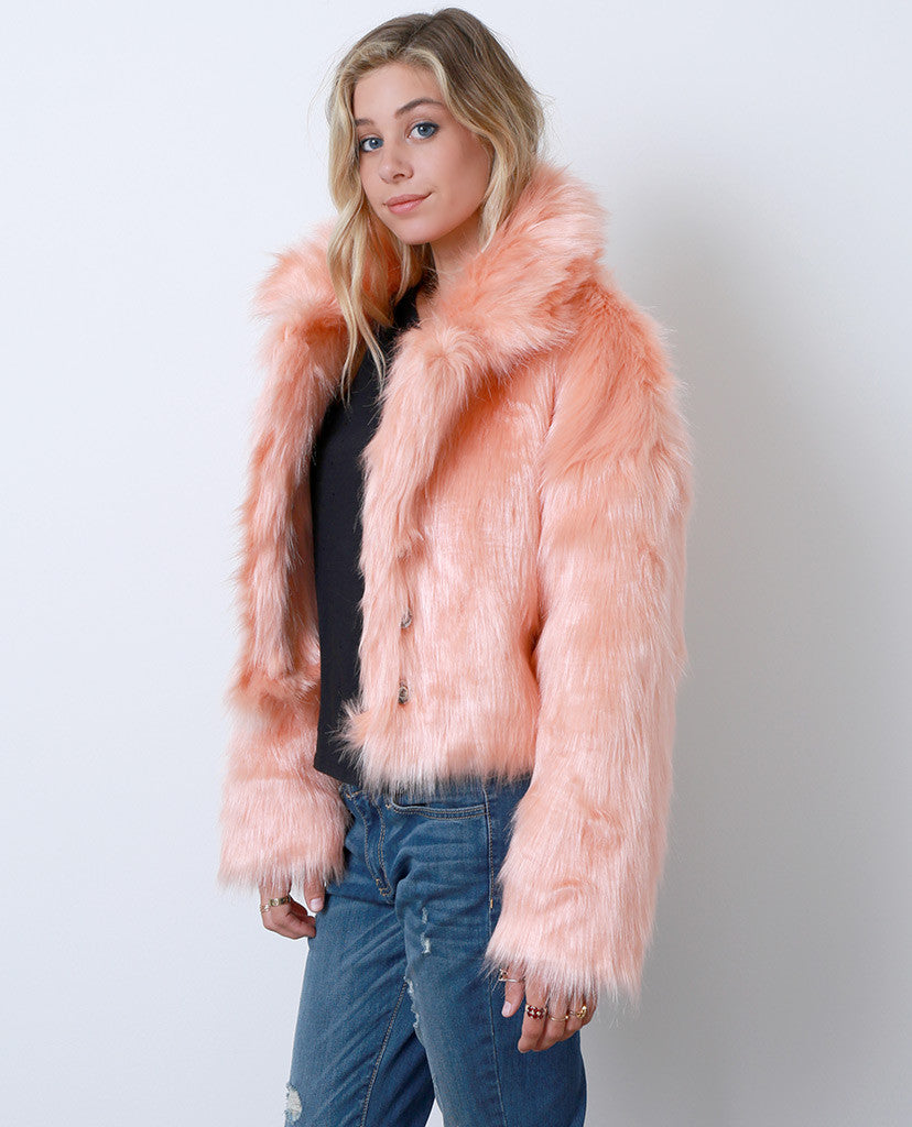 Flirty Femme Faux Fur Coat - Orange - Piin | ShopPiin.com