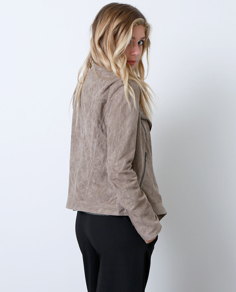 Suede With Love Moto Jacket - Beige - Piin | ShopPiin.com