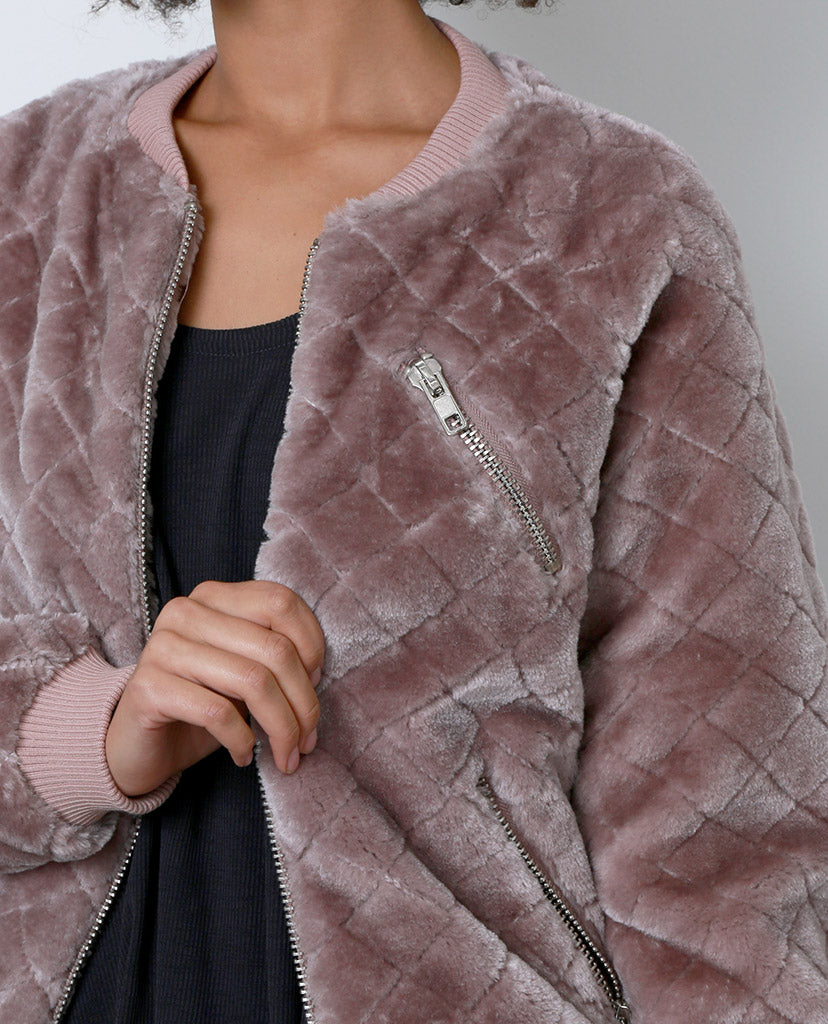 Tough Chick Faux Fur Bomber Jacket - Purple - Piin | ShopPiin.com