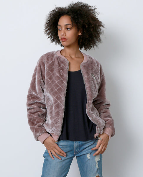 Tough Chick Faux Fur Bomber Jacket - Purple - Piin | www.ShopPiin.com