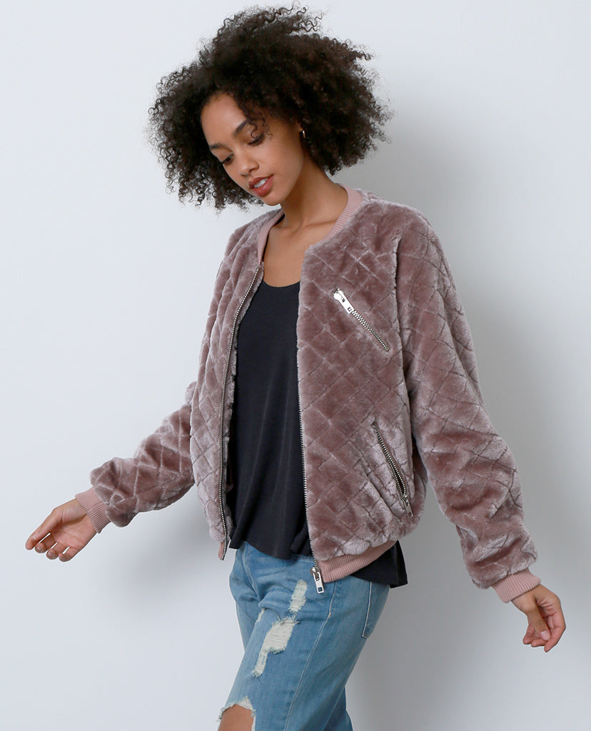 Tough Chick Faux Fur Bomber Jacket - Purple