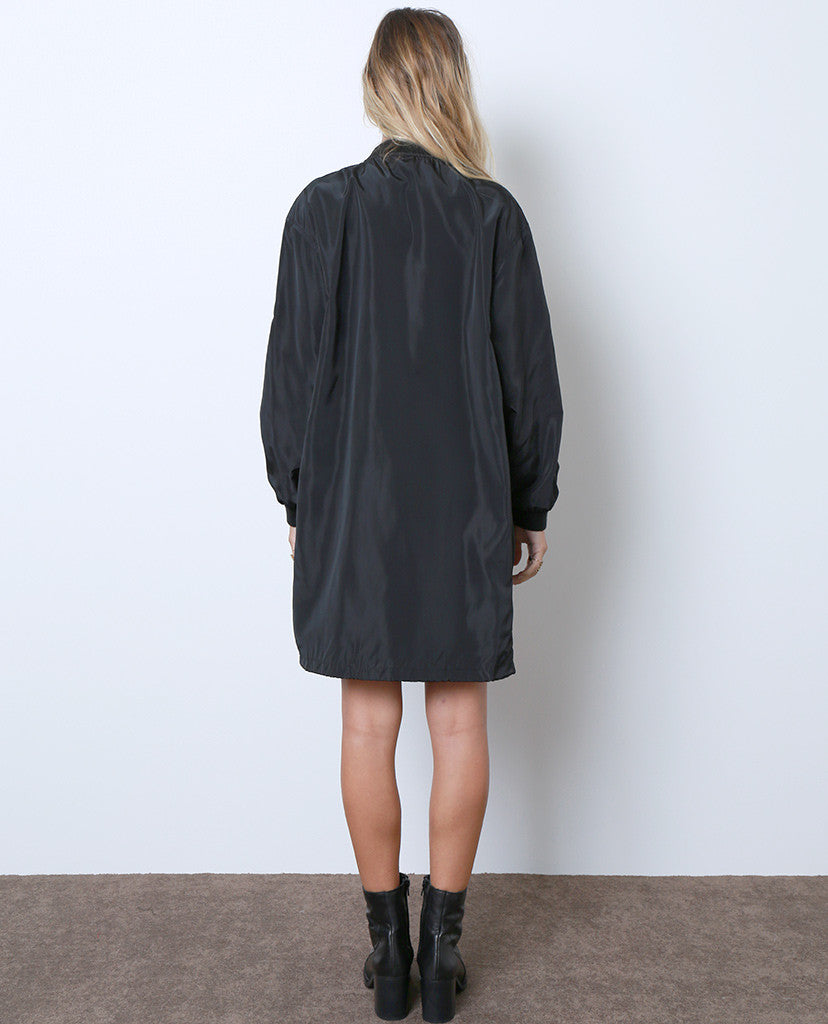 A Night To Celebrate Long Bomber Jacket - Black - Piin | ShopPiin.com