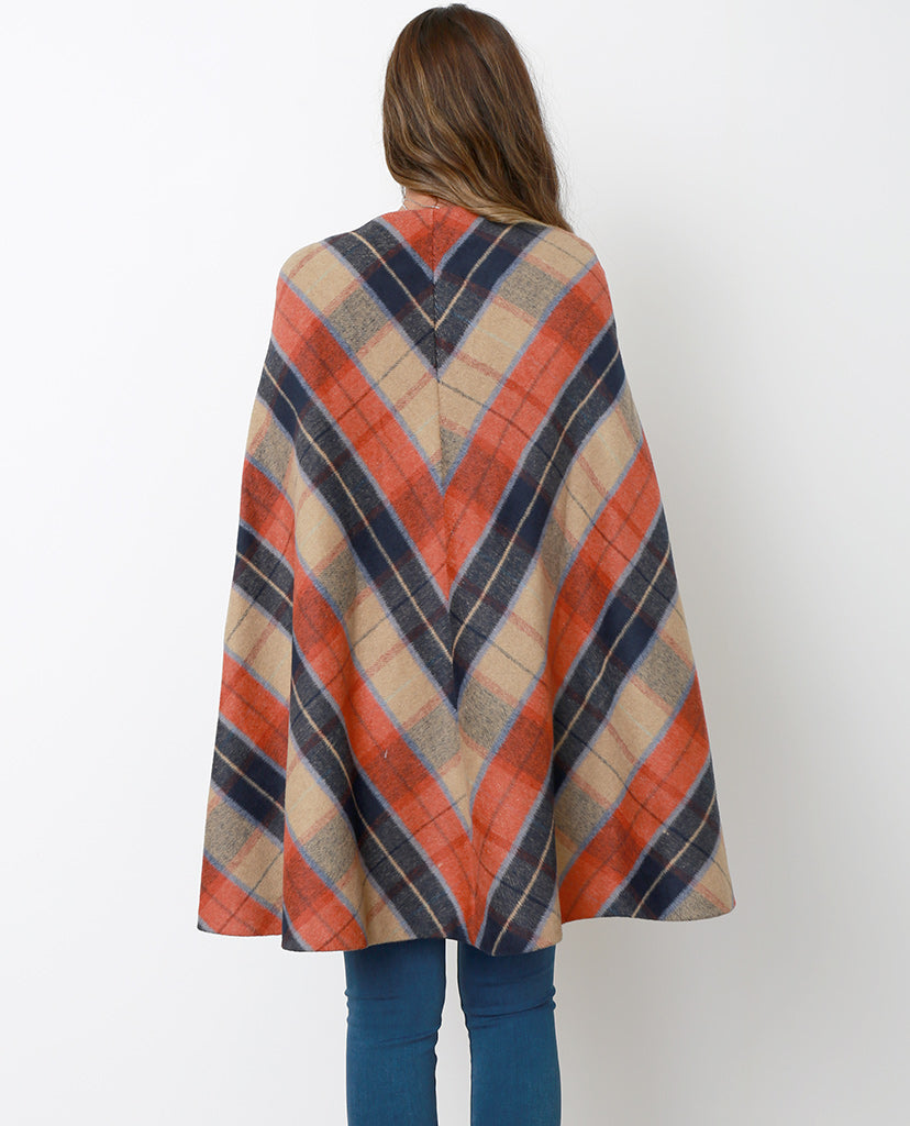 Attitude Is Everything Plaid Cape Coat - Brown/Orange - Piin | ShopPiin.com