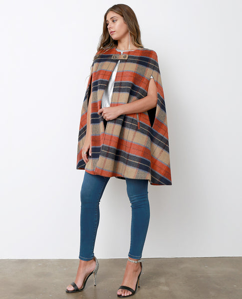 Attitude Is Everything Plaid Cape Coat - Brown/Orange