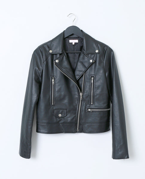 Taking Over Faux Leather Moto Jacket - Black - Piin | ShopPiin.com