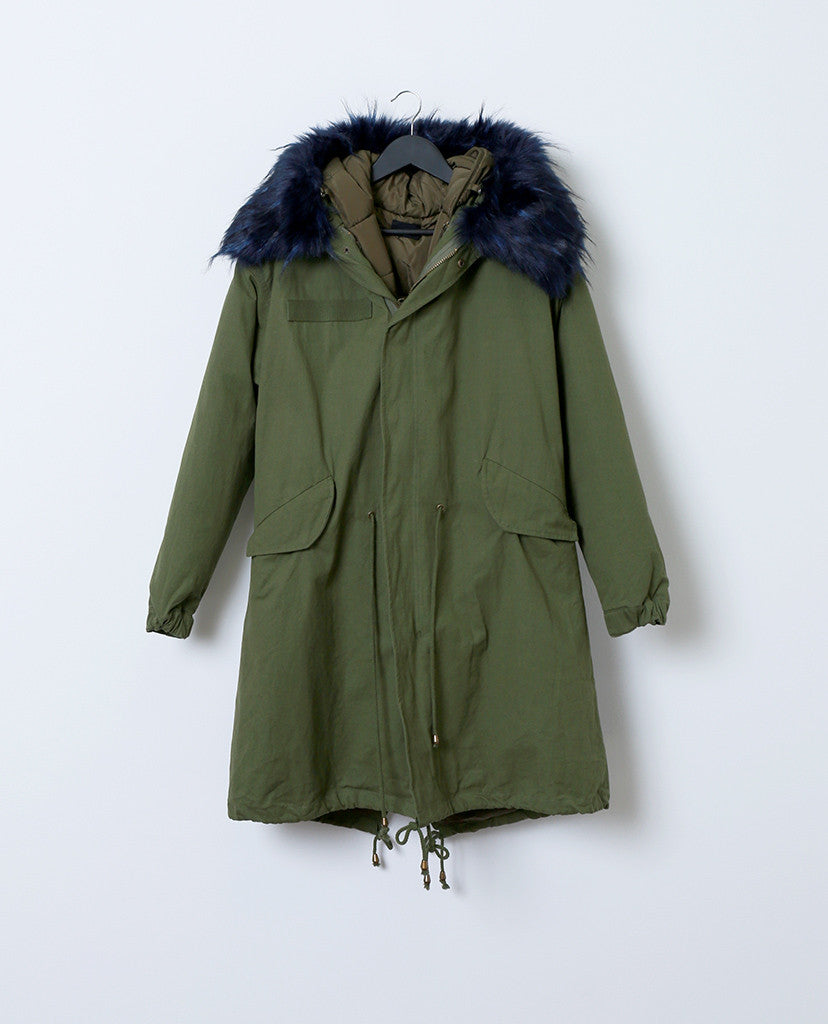 Toasty and Cute Anorak Coat - Olive/Royal - Piin | ShopPiin.com