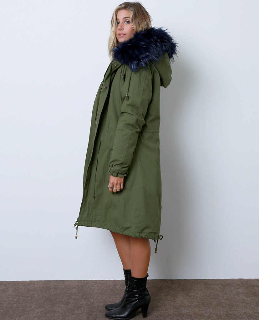 Toasty and Cute Anorak Coat - Olive/Royal