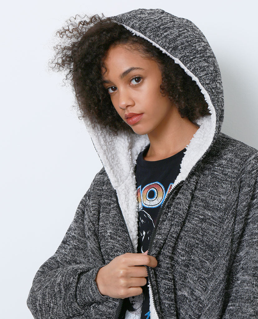 Go To Faux Shearling Jacket - Gray - Piin | ShopPiin.com