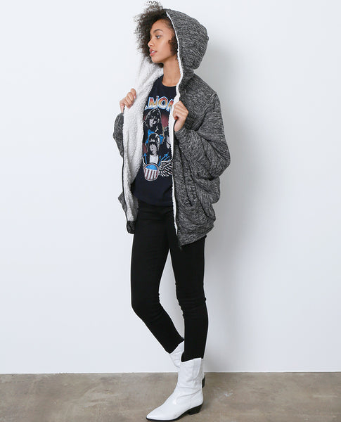 Go To Faux Shearling Jacket - Gray - Piin | www.ShopPiin.com