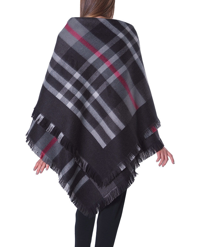 Bisou Plaid Wool Poncho - Multi Print - Piin | ShopPiin.com