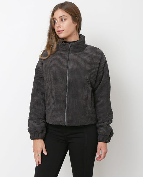 Hello Again Bomber Jacket - Charcoal Gray - Piin | ShopPiin.com