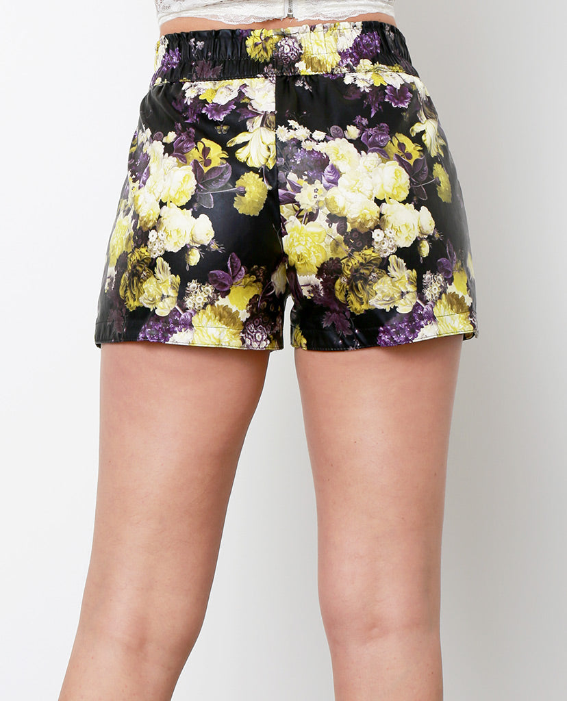 Spring Forwards Faux Leather Shorts - Purple Print - Piin | ShopPiin.com