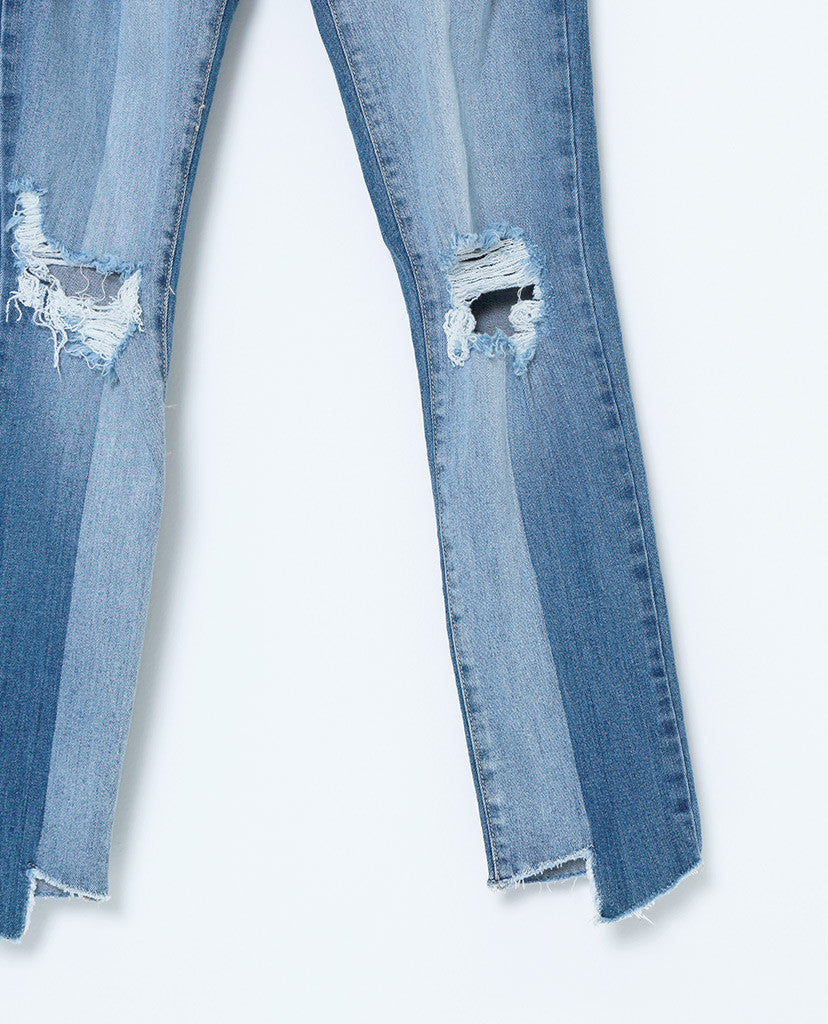 Look Side Way Skinny High Waist Distressed Jeans