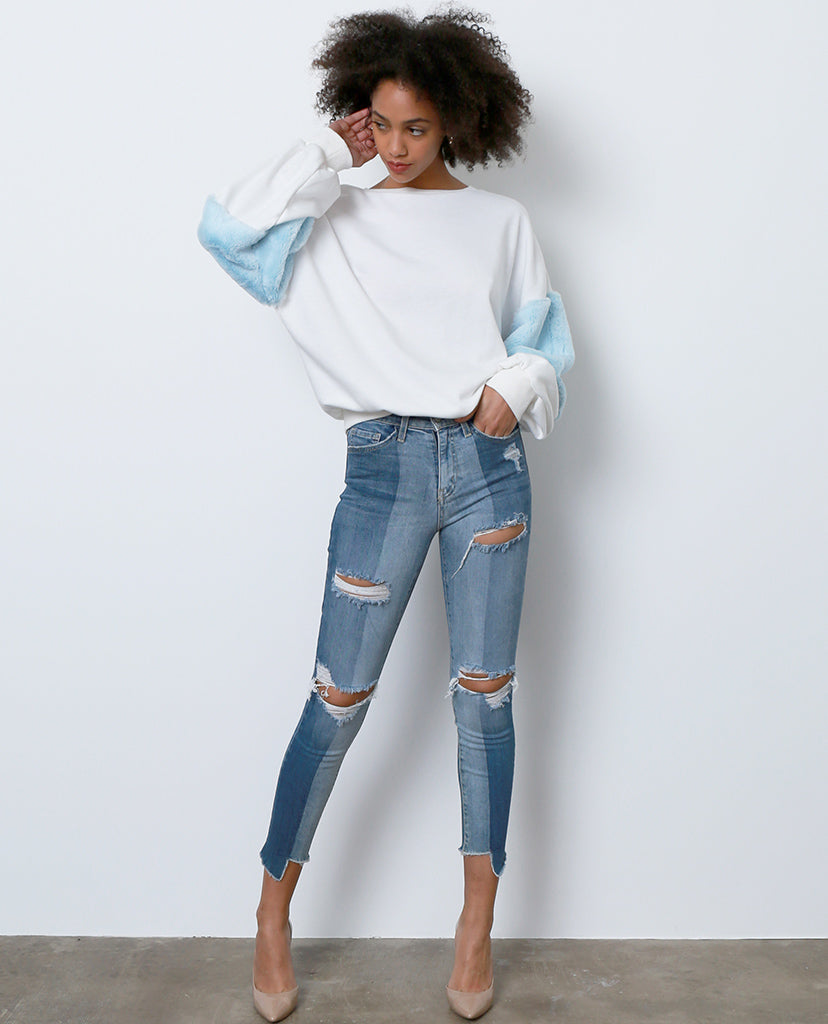 Look Side Way Skinny High Waist Distressed Jeans - Piin | ShopPiin.com