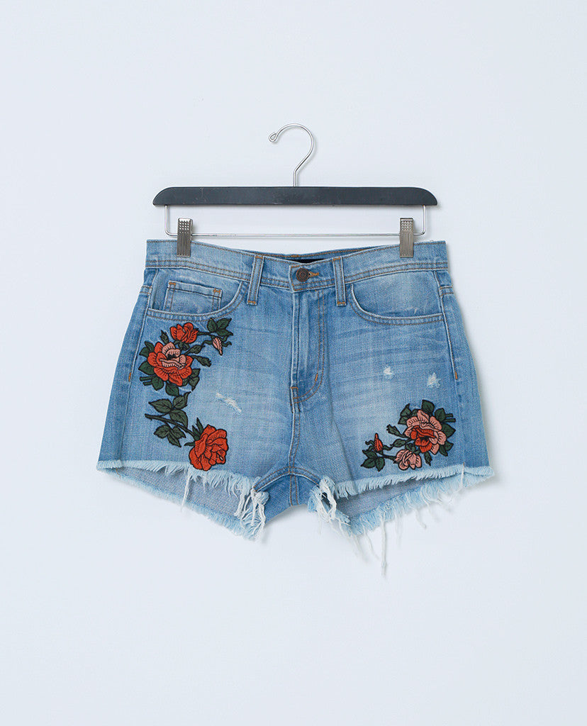 c7c7353141 ... Cover By Denim Shorts With Raw Hem - Floral Embroidery - Piin | ShopPiin.com  ...