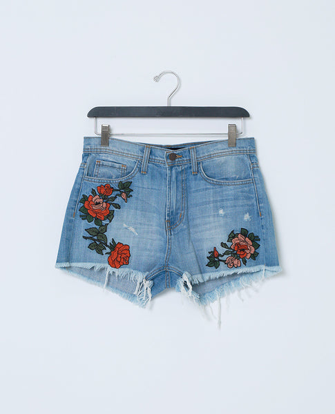 Cover By Denim Shorts With Raw Hem - Floral Embroidery - Piin | ShopPiin.com