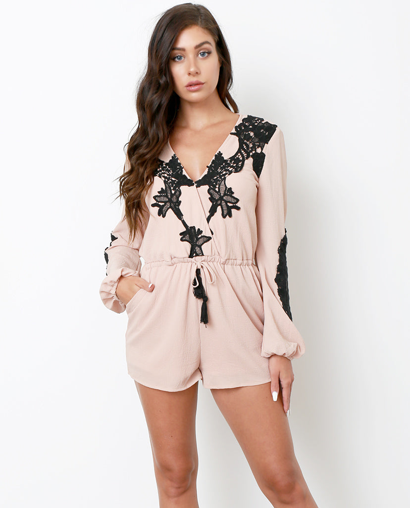 I Am Here Romper - Nude/Black - Piin | ShopPiin.com