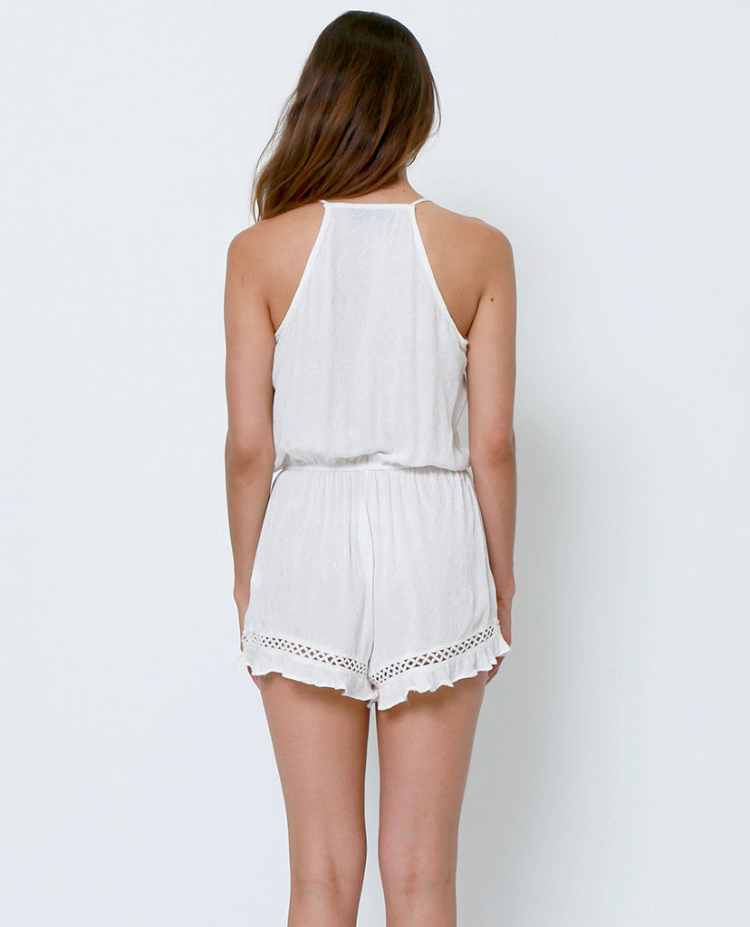 White Out Romper  - White Lace