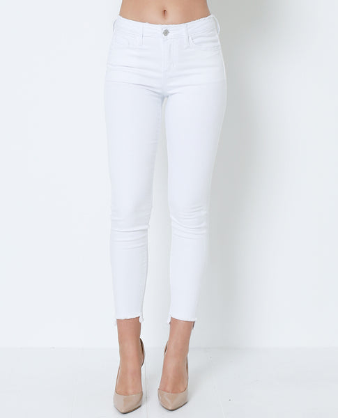White Out High-Low Skinny Denim Jeans - White - Piin | ShopPiin.com