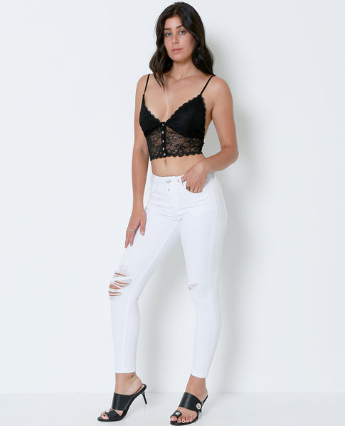 New Day Cropped Skinny denim Jeans - White - Piin | ShopPiin.com
