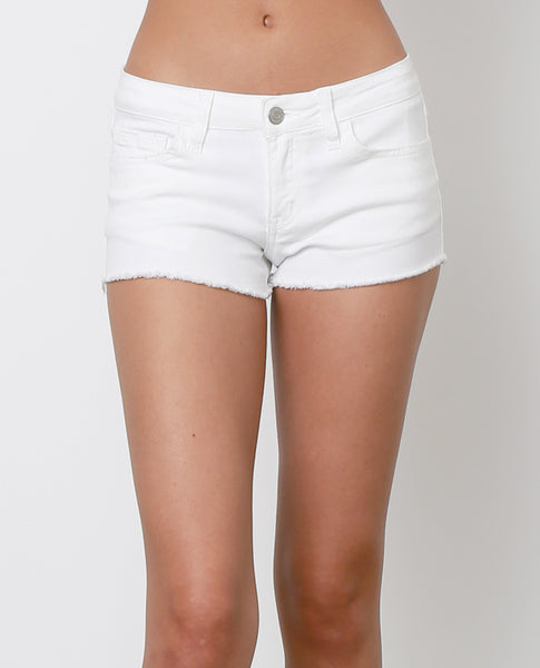 What Better Way Denim Shorts - White Distressed