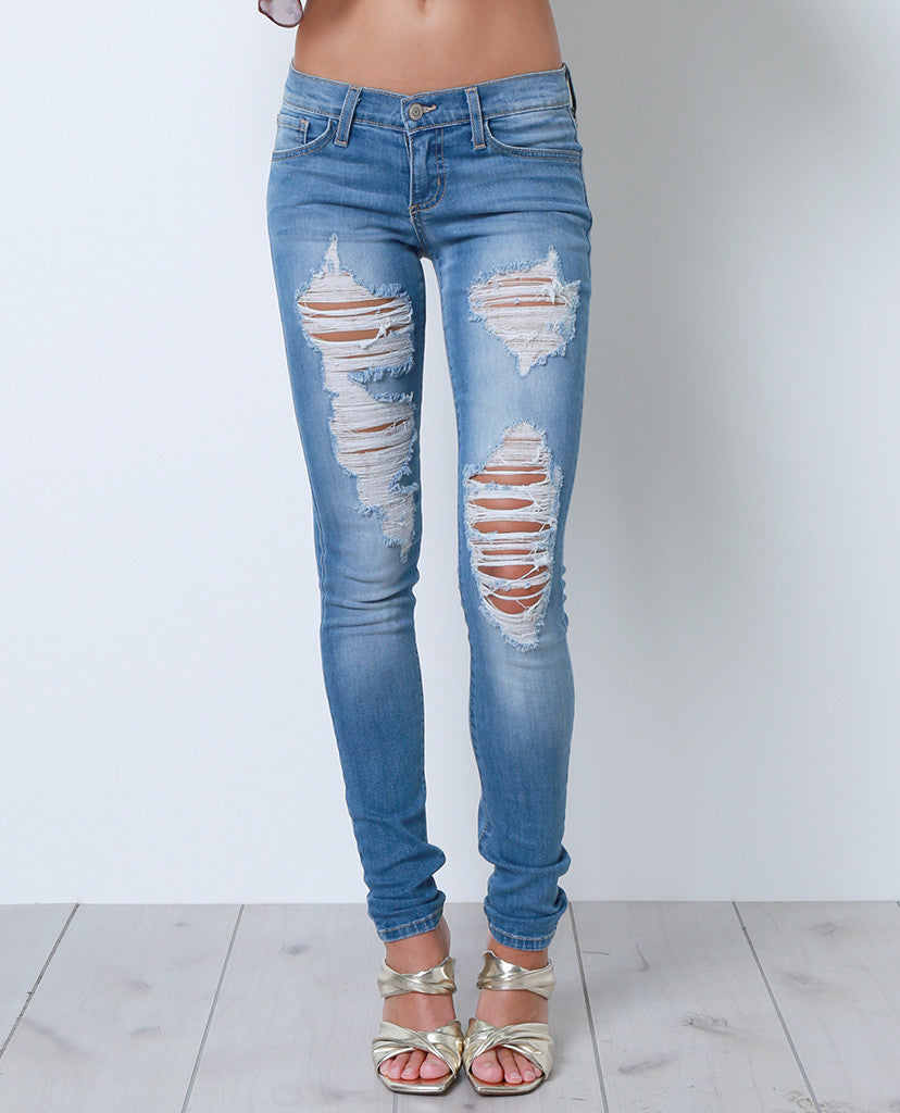 Keep Up With Skinny Jean - Distressed Denim - Piin | ShopPiin.com