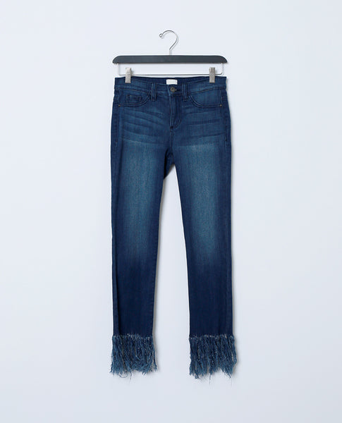Unsuspecting Subject Jeans - Fringe Hem
