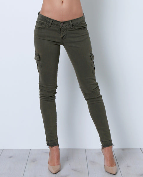 Venturing Out Cargo Skinny Denim Jeans - Green - Piin | www.ShopPiin.com