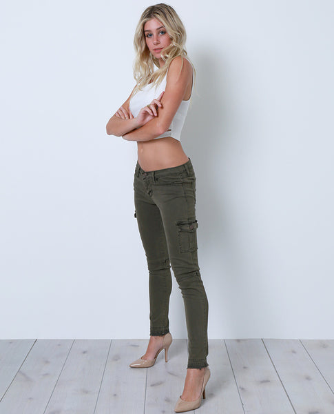 Venturing Out Cargo Skinny Denim Jeans - Green - Piin | ShopPiin.com
