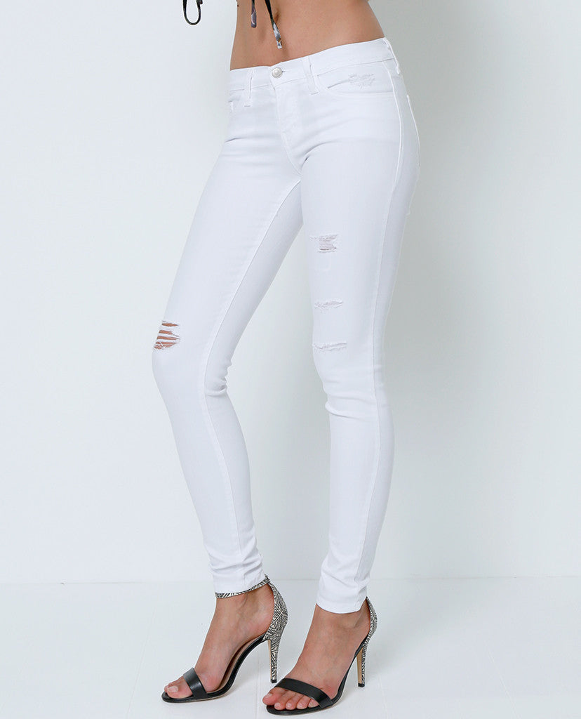 Running Into Skinny Denim Jeans - White