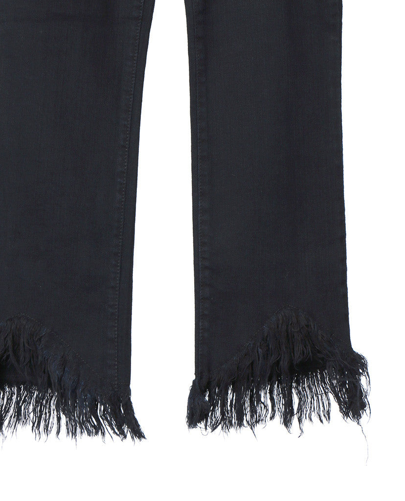 New Waves Black Denim Crop Jeans - Frayed Hem - Piin | ShopPiin.com