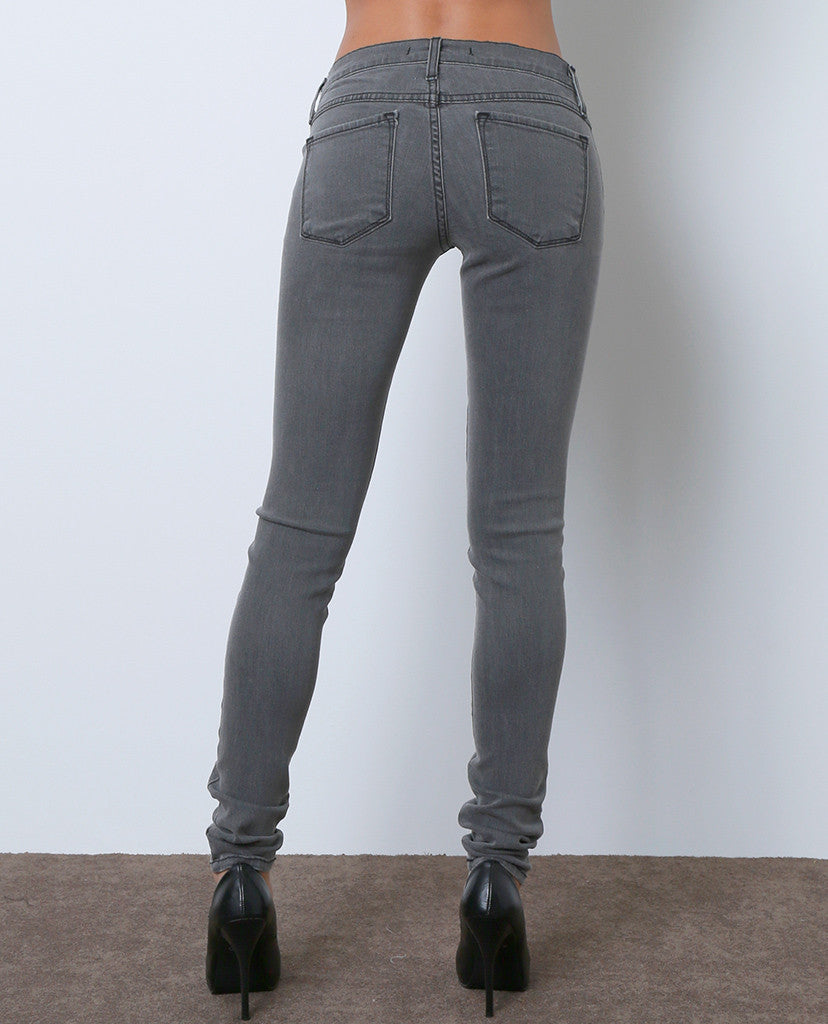 Unremarkable Skinny Denim Jeans - Gray - Piin | ShopPiin.com