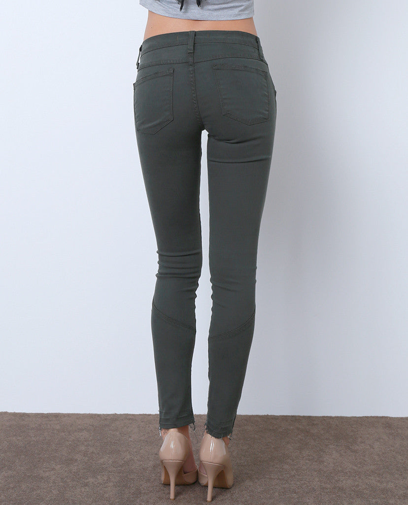 Kick Your Feet Up Colored Denim Skinny Jeans - Green