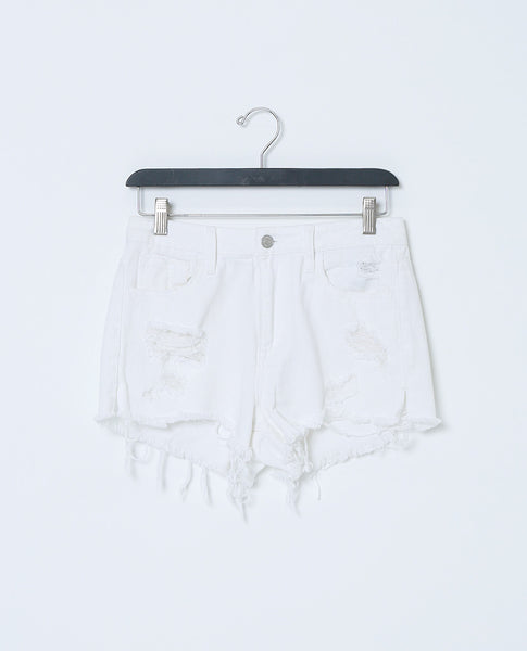 Spent Time White Denim Shorts - White Distressed - Piin | ShopPiin.com