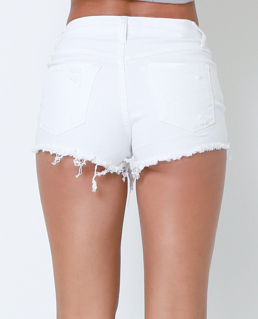 Go To Denim Shorts - White Distressed - Piin | ShopPiin.com