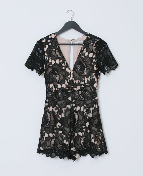 Stand-Out Lace Romper - Black Lace - Piin | www.ShopPiin.com