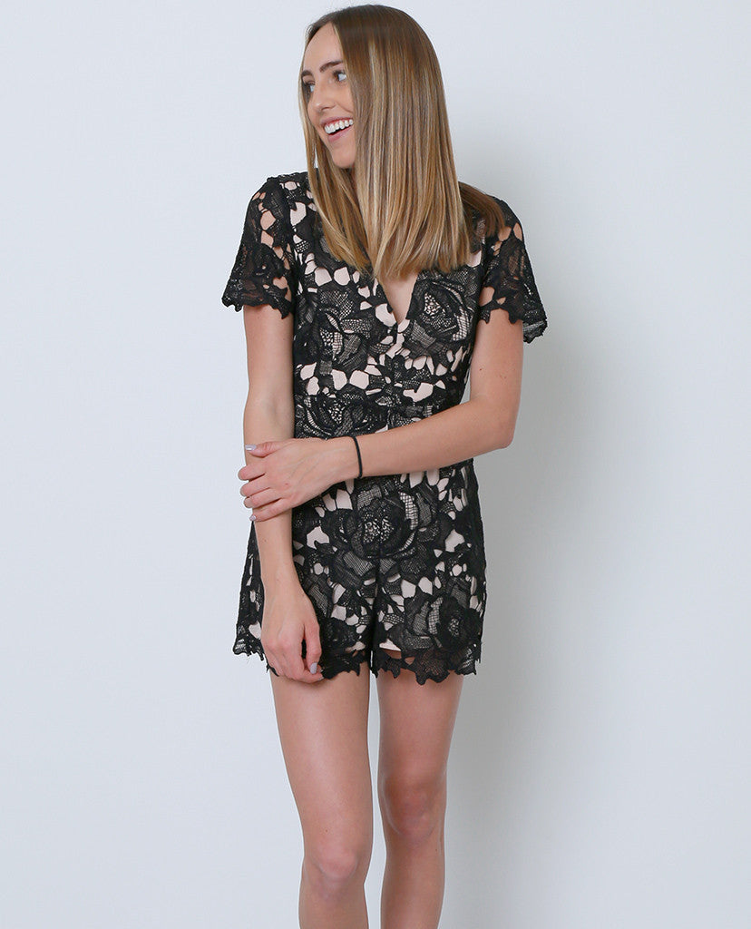 Stand-Out Lace Romper - Black Lace