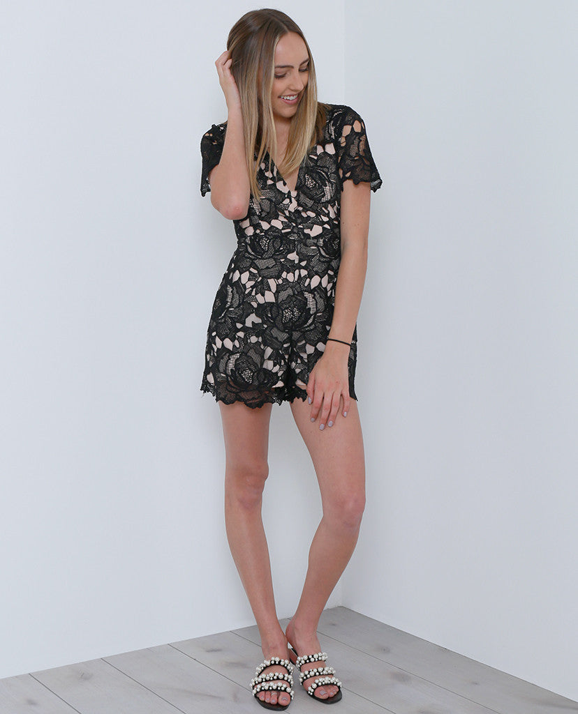 Stand-Out Lace Romper - Black Lace - Piin | ShopPiin.com
