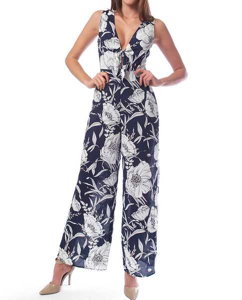 Fresh Floral Jumpsuit - Navy/White - Piin | ShopPiin.com
