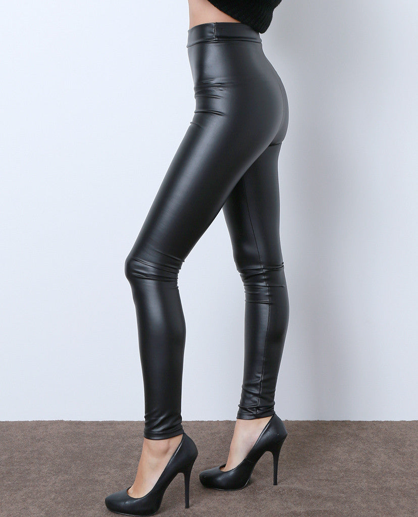 Real Things Faux Leather Leggings - Black